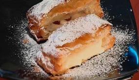 Торт «Наполеон» с заварным кремом с малиной