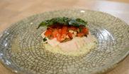 Куриная грудка на карамельном соусе сациви с томатной сальсой и хрустящим базиликом